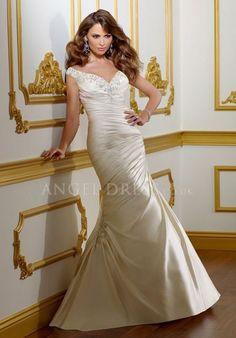 Floor Length Mermaid Off the Shoulder Asymmetric Waist Satin Sleeveless Wedding Dress