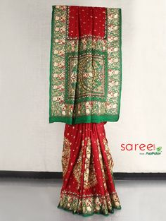 Maroon and Green Gharchola Saree