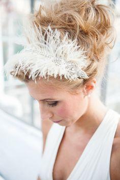Feather and Rhinestone Art Deco Handmade Headband  by TheRitzyRose, $125.00
