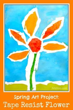 Spring Art Projects: Tape Resist Flower Painting • TinyRottenPeanuts.com