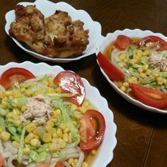 毎日暑いですね(ー_ー;) なのでさっぱりサラダうどんで♪ - 21件のもぐもぐ - サラダうどん&炙り焼きチキン by sakachinmama
