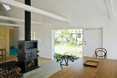 Love the wood burning stove in the middle of the room. This one has clean lines.