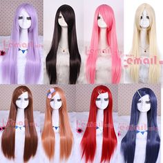 Free Shipping 80cm Japan Anime Sarutobi Iris Synthetic Hair Purple Pink Red Bue Brown Long Straight Cosplay Wig