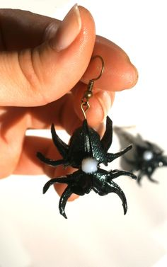 Black Spiders origami earrings, Black Olive green shine paper spider earrings, Steampunk earrings, black and white glass bead, spooky style by TheWorldinpaper on Etsy