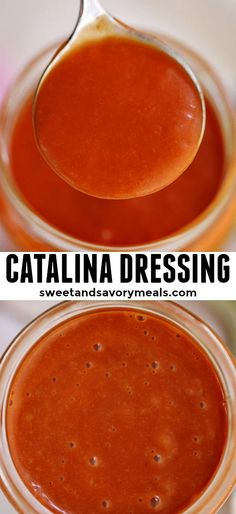 This easy Homemade Catalina Dressing is perfect for salads, and taste so much better than the store-bought version. It is flavorful and ready in under 5 minutes! Catalina Dressing Recipes, Catalina Salad Dressing, Salad Dressing Recipes, Salad Dressings, Sauce Recipes, Cooking Recipes, Cooking Tips, Vegan Recipes, Dips