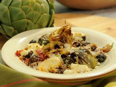 Baked Artichokes with Olives and Ricotta Cheese