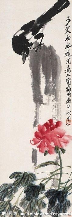 Qi Baishi..喜鹊牡丹大图 点击还原