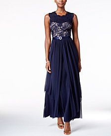 R & M Richards Sequined Lace Chiffon Gown - Mother of the Bride - Women - Macy's Mob Dresses, Bridesmaid Dresses, Wedding Dresses, Bride Dresses, Mothers Dresses, Bridesmaids, Fashion Dresses, Chiffon Skirt, Lace Chiffon