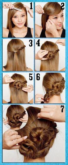 Quick and Easy Updo girly hair blond updo bun hair ideas diy hair hair trends hair tutorial hair tutorials