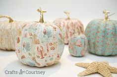 Mod Podge Coastal Theme Pumpkins - Crafty by Courtney Not too sure about these, but will put them out there  :)