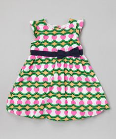 Loving this Green & Pink Bow A-Line Dress - Infant, Toddler & Girls on #zulily! #zulilyfinds