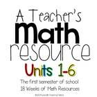 A semester of math resources for teacher!  Aligned! Essential questions, big ideas, math word wall with definitions, new concepts, spiraled concepts, small group ideas and workmats....