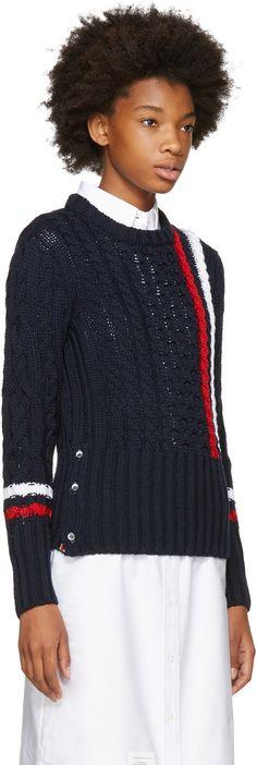Thom Browne - Navy Aran Cable Knit Stripes Crewneck Sweater