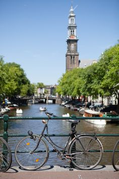 Bicycles and bridges in Amsterdam, Netherlands.