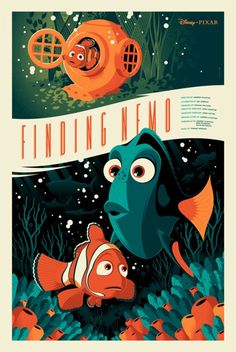Pixar Disney Tom Whalen Mondo Poster Affiche Nemo Plus Disney Vintage, Retro Disney, Art Disney, Film Disney, Disney Kunst, Disney Love, Disney Magic, Disney Colors, Modern Disney