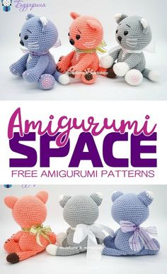With this free amigurumi pattern you will get a kitten about 16 cm high. You'll need mm crochet hook and acrylic yarn. Chat Crochet, Crochet Mignon, Crochet Bear, Free Crochet, Crochet Hooks, Crochet Giraffe Pattern, Crochet Amigurumi Free Patterns, Crochet Animal Patterns, Stuffed Animal Patterns