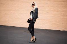 Black and White Polka Dot Blouse + Leather Jacket