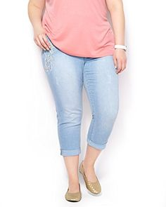 Fashion Bug Womens Plus Size d/c JEANS Curvy Fit Cropped Skinny Leg #Jean www.fashionbug.us #PlusSize #FashionBug