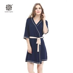 10 pcs pack NORA TWIPS 2017 New Women s Bathrobes Soft Kimono Cotton Knit  Robes Piping ca2af958b