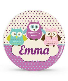 Take a look at this Purple Owl Personalized Plate by Avery & Ethan on #zulily today!