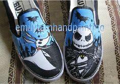 NBC Jack Skellington and Zero Vans Slip On Shoes-Custom Vans Sneakers Hand Painting on Etsy, $95.00