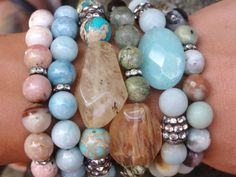 Boho Gemstone Beaded Stretch Stacker Bracelet by GlitterFusion