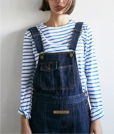 Simple stripes, dungarees and the cutest bob ever. Perfect outfit.