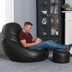 WHOPPER RIESEN Sitz Sack - SCHWARZ Lederimitat Sitzsack Sessel - Echt Mannshohe Sitzsäcke!: Amazon.de: Küche & Haushalt