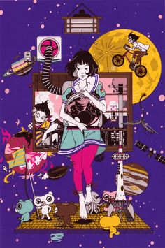 The beautiful Blu-ray covers for my all time favorite anime, The Tatami Galaxy. These were illustrated by Yusuke Nakamura, who is most notable for his cover designs for Asian Kung-Fu Generation. Japan Illustration, Kill La Kill, Cowboy Bebop, The Tatami Galaxy, Anime K, Galaxy Art, One Punch Man, Psychedelic Art, Illustrations And Posters