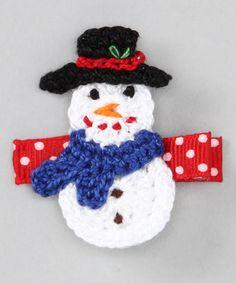 crochet snowman clip
