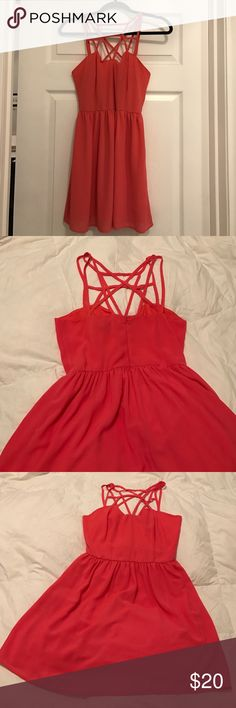 Coral F21 skater dress Coral skater dress in a size small! Forever 21 Dresses Mini