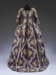 Sack back gown and petticoat (Robe à la francaise), purple silk, brocaded with flowers and lace, French, 18th Century Dress, 18th Century Costume, 18th Century Clothing, 18th Century Fashion, Antique Clothing, Historical Clothing, Historical Costume, Historical Dress, Vintage Gowns