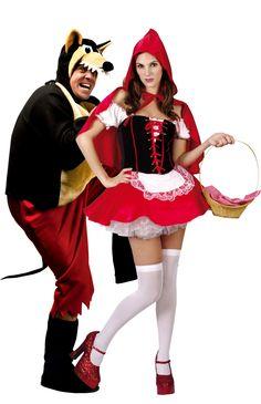 c0a708653955 Costume di coppia Cappuccetto Rosso e Lupo cattivo. A Carnevale o per una  serata a