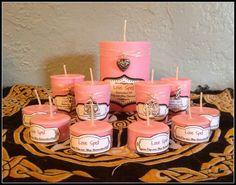 Love Spell 100% Soy Scented Candles ~ Choose from 1 Pillar ~ 2 or 4 Votives ~ 6 Tea Lights ~ Love ~ Friendship ~ Rose Quartz Inside by SummerlandBB