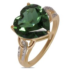 .025cttw with Simulated Emerald Heart Fashion Ring in 10k Yellow Gold - Jewelry Deals 80% OFF + $25 OFF extra discount on purchases $500 & UP ! Enter PINPROMOT coupon at CHECKOUT to get $25 OFF when you place your order @ NissoniJwelry.com