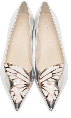 Sophia Webster Silver Butterfly Bibi Flats