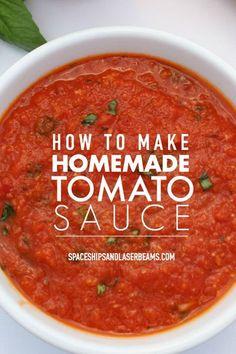 Homemade Spaghetti Sauce, Homemade Sauce, Homemade Recipe, Basic Pasta Sauce, Spagetti Sauce, Diy Recipe, Fresh Tomato Sauce Recipe, Easy Tomato Sauce, How To Make Tomato Sauce