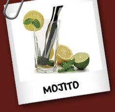 Mojito  Ingredientes:  • 1 1/2 Onza Ron • 1 Onza Jugo de Limon • 1 tsp Azúcar • 4 Hojas de Menta Fresca • Soda   Preparacion:  Combinar el jugo de limon, la menta y el azúcar en el vaso y revolver. Agregue el hielo, el ron y luego completar con soda. Revolver bien.