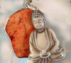 Buddha Smiling Pendant Necklace with Silver Rope Chain - Orange Stone - NEW