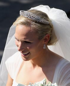 Zara Phillips wearing Princess Anne's greek key tiara