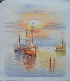 "Seaside Boats on Sunset Oil Painting Size 20x24"" by Landscape Oil Painting, http://www.amazon.com/dp/B00BOJITPE/ref=cm_sw_r_pi_dp_J2CXrb1VXEMNE"