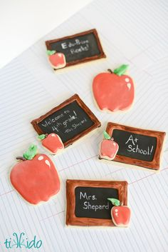 How to make and decorate easy apple shaped sugar cookies using royal icing.