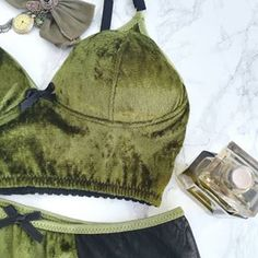 So you want to add some luxury and deep rich colors with lovely softness to your everyday lingerie? Then velvet is your choice! Velvet Bra, Green Lingerie, Crushed Velvet, Olive Green, Crochet Bikini, Bikinis, Swimwear, Underwear, Rich Colors