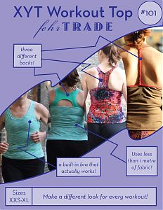 XYT Workout Top pattern - This is a digital sewing pattern for a close-fitting, sleeveless workout top with front scoop neck, and choice of three upper back designs. ...