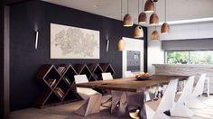 Современные уютно столовая украшения фотографий с интересными книжный шкаф и уникальной подвесные светильники и прохладных стульев с современным обеденный стол необычной базе