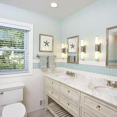 Cottage Bathroom with Blue Glass Tiles