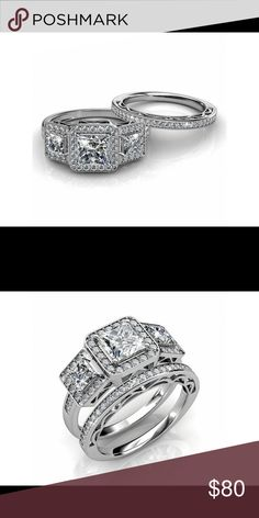 Princess cut Sterling silver wedding ring set Princess cut Sterling silver wedding ring set Her Junction Jewelry Rings