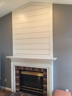 "DIY Shiplap over fireplace using 1x8"" planks"