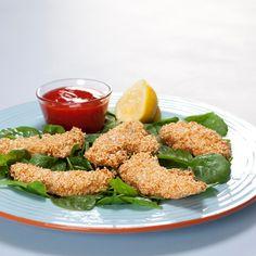 Sesam kylling med spinat og sød chilisauce