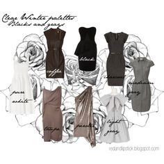 """""""Clear Winter palettes: Blacks and grays"""" by carolgrant on Polyvore"""